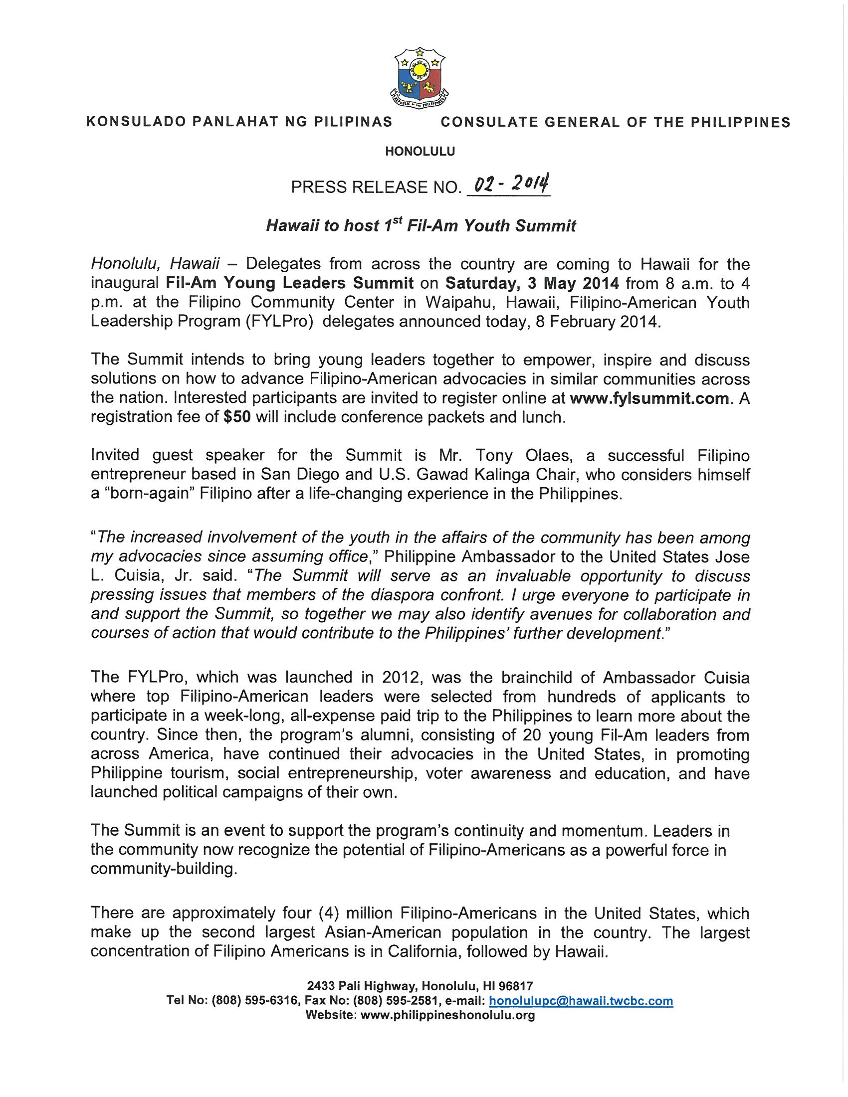 PR-02-2014 Hawaii to Host 1st Fil-Am Youth Summit (page  1)